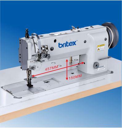 Máy may công nghiệp 02 kim Thớt dài, ổ ngửa, trụ kim bơi bàn lừa dạng Unison/Compound Feed - Hiệu Britex, Model: BR-6620-457/635/800/1000